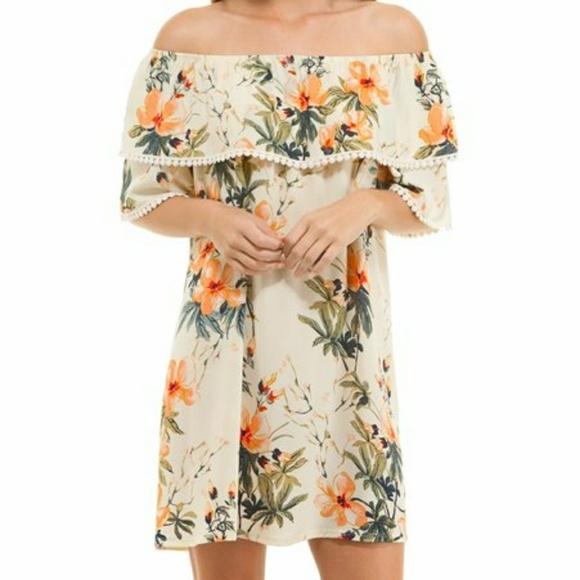 Sun n Moon Dresses & Skirts - Sun & Moon Tropical Floral Off the Shoulder Dress